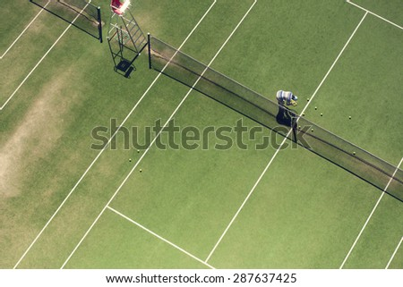 The tennis court from the above. - stock photo