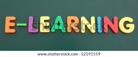 The term e-learning built out of colored bold letters on a blackboard.