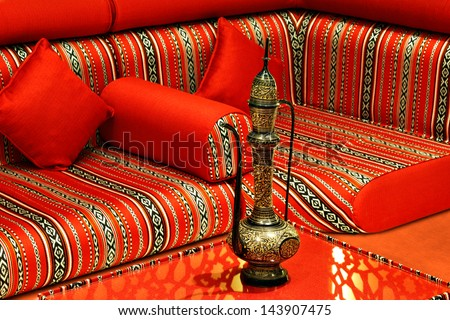 The term Majlis is used to refer a private place where guest are received and entertained, especially in the Islamic countries. It is particularly relevant during Ramadan - stock photo