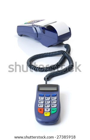 The terminal with a pure credit card - stock photo