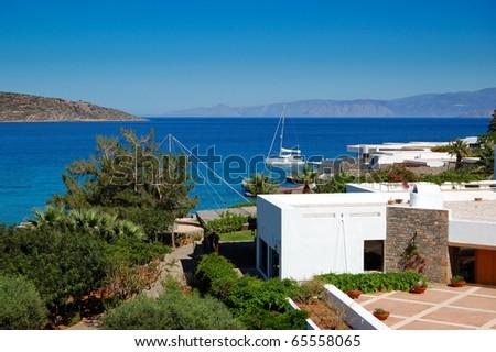 The terrace of Greek luxury hotel, Crete, Greece - stock photo