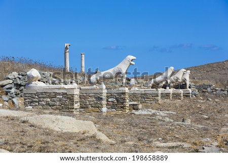 The Terrace of the Lions in the island of Delos,one of the most important archaeological sites in Greece  - stock photo