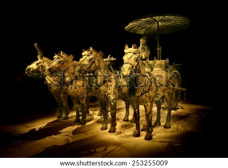 The Terracotta Army and Horses of Xian in China, 2014 December 12 - stock photo