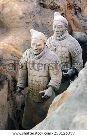 The Terracotta Army of Xian in China, 2014 December 12 - stock photo