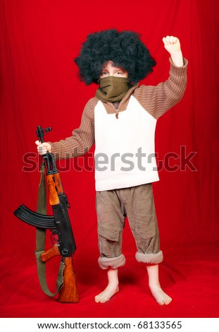 The terrorist with assault rifle on a white background. - stock photo