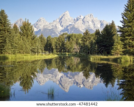 The Teton Mountain Range reflected in the waters of  Schwabacher's Landing, Grand Teton National Park, Wyoming. - stock photo
