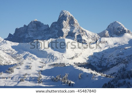 The Tetons from the East. - stock photo