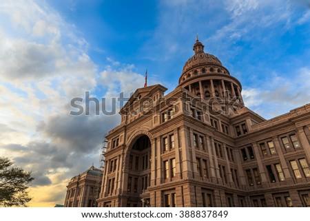 The Texas Capitol Building/ Texas Capital/ The Texas Capitol building at sunset in Austin, Texas.  - stock photo