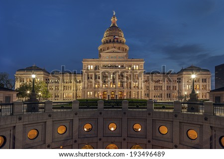 The Texas State Capitol Building in downtown Austin at Night