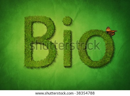 The text Bio in letter made out of grass - stock photo