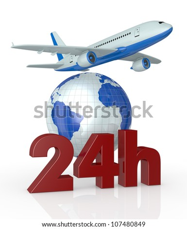 the text: 24h with a world globe and an airplane (3d render)