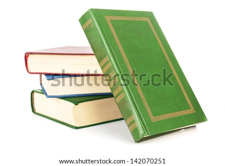 The textbooks on white table - stock photo