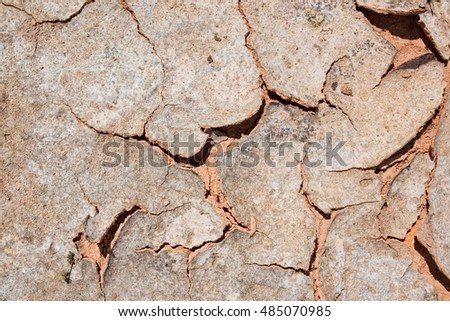 The texture of dry earth, sand cracks