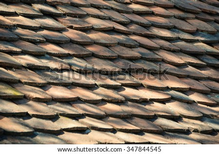 The texture of old tiles for the roof - stock photo