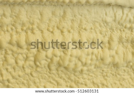 The texture of solidified foam for thermal insulation of walls