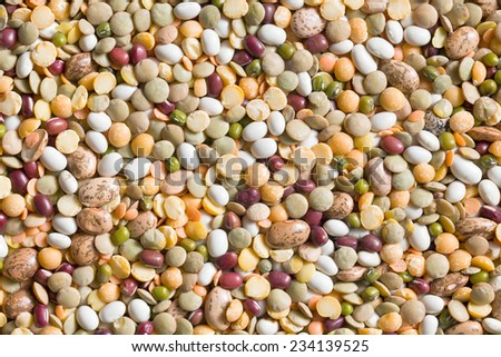 the texture of various legumes  - stock photo