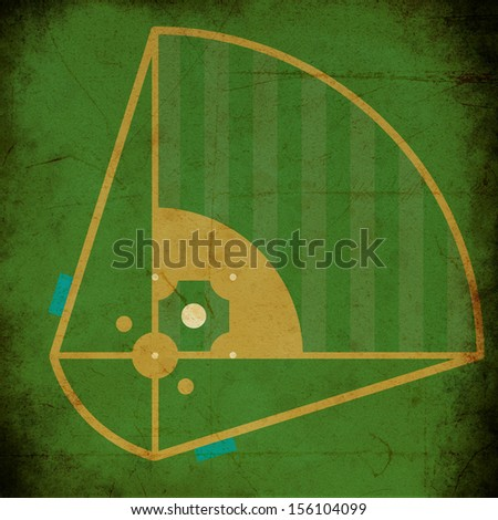 the texture, vintage background of the baseball field design on grunge paper