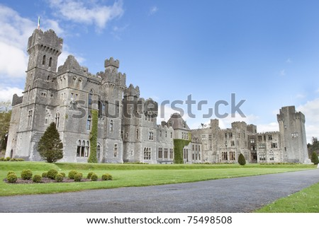The 13th Century Ashford Castle hotel in Cong, Ireland. - stock photo