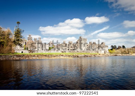 The 13th Century Ashford Castle hotel in Cong -  Ireland. - stock photo