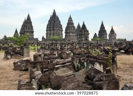 The 9th century Hindu temple Prambanan in Yogyakarta, .Indonesia - stock photo
