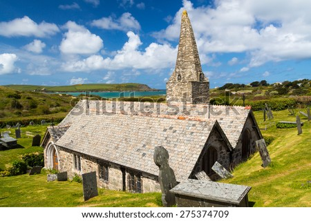 The 12th century St Enodoc Church Trebetherick, resting place of Poet Laureate Sir John Betjeman. Cornwall England - stock photo