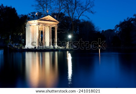 "The 19th century ""Temple of Aesculapius""in Villa Borghese Park,Rome ,Italy - stock photo"