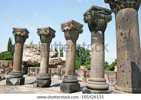 The 7th century Zvartnots Cathedral ruins in  Armenia, UNESCO World Heritage Site. - stock photo