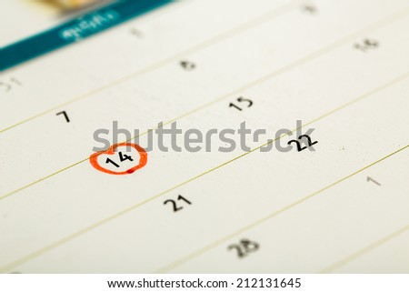 The 14th of February mark on calendar. - stock photo