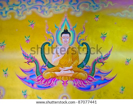 The Thai art of religion on wall of temple. - stock photo