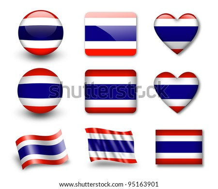 The Thai flag - set of icons and flags. glossy and matte on a white background. - stock photo