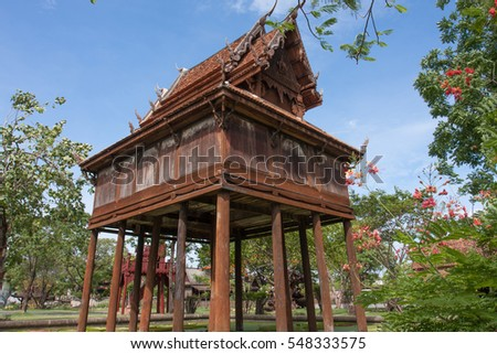 The Thai gilded house or gilded tower for keep the Tripitaka, built over the pond to protect the ant  white ant or termite or insects to destroy the books of the holy scriptures of Buddha