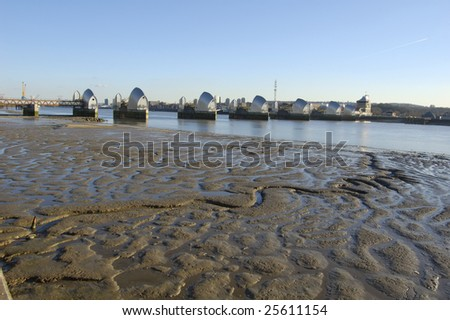 The Thames Barrier at low tide, London, England