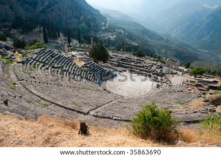The theater at Delphi is build further up the hill from the Temple of Apollo and it presented the seated audience with a spectacular view of the entire sanctuary below and the valley beyond.