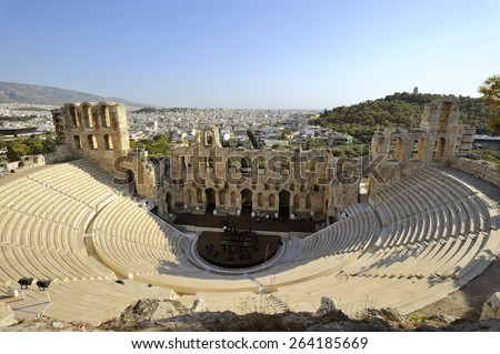 The theater called the Odeon of Herodes Atticus built in memory of his wife Aspasia Annia Regilla. Second century A.D. Europe, Greece, Attica, Athens,  - stock photo