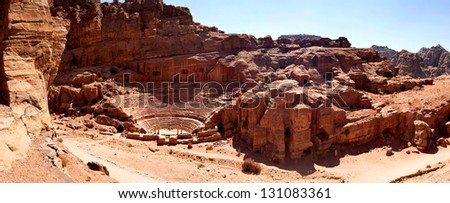 The theater in Petra Jordan - stock photo