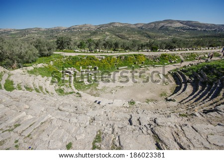 the theater in Sebastia, west bank, Israel - stock photo