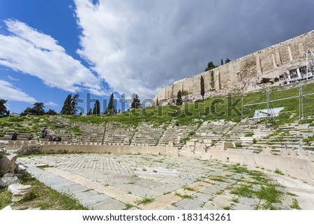 The Theatre of Dionysus Eleuthereus is a major open-air theatre and one of the earliest preserved in Athens, Greece  - stock photo