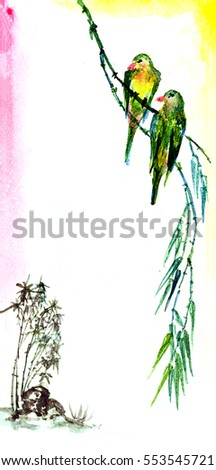 the theme of nature,Chinese willows with bird, a sign for spring japanese sumi-e style, go-hua. watercolor art hand paint on white background
