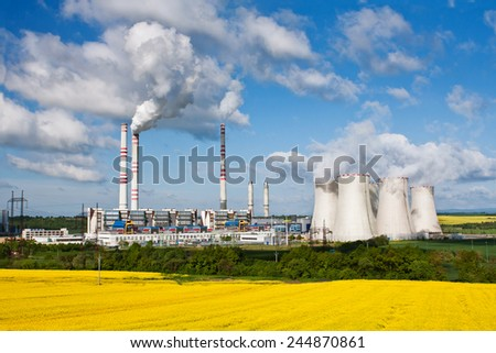The thermal power station Pocerady - Czech Republic - stock photo