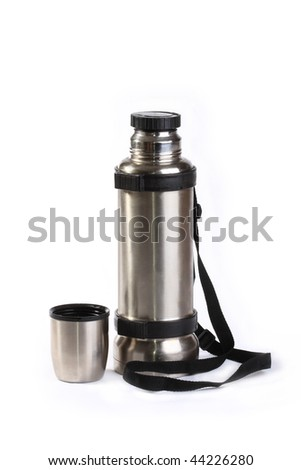 The thermos from stainless steel, is very reliable and convenient in marching conditions - stock photo