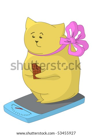 The thick man-pillow measuring his weight on the scales, disappointedly looking at it, and eating a chocolate - stock photo