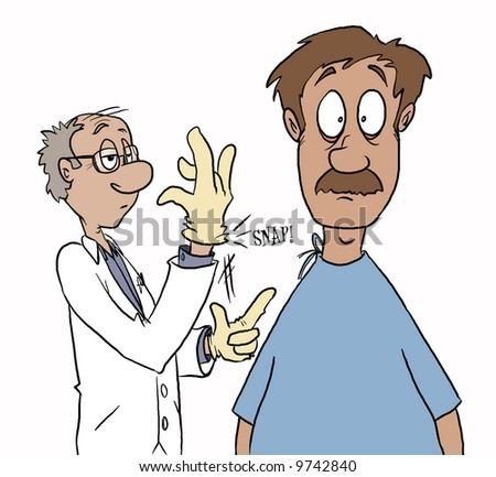 The thing most guys dread. Hearing that rubber glove snap. Darn those prostate exams...darn them to heck. - stock photo