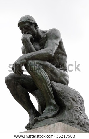 The Thinker by Rodin in Paris museum isolated on white background - stock photo