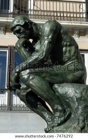 The Thinker, (copy)famous statue by Auguste Rodin - stock photo