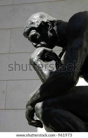 The Thinker, the famous statue by Auguste Rodin - stock photo