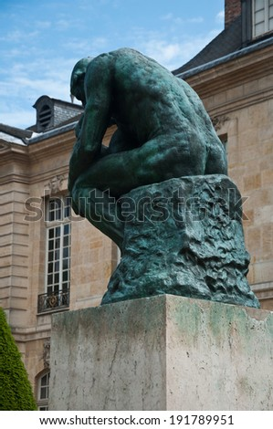 the thinking in Rodin Museum in Paris - stock photo