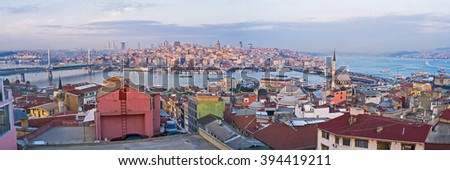 The Third Hill of Istanbul is one of the best places to watch the sunset over the city and Golden Horn Bay, Turkey. - stock photo