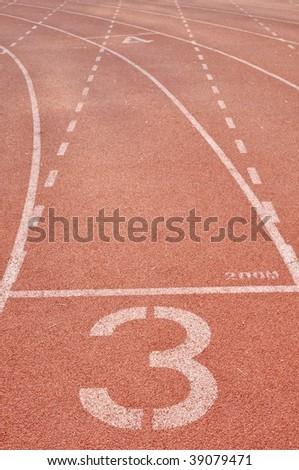 the third running lane - stock photo