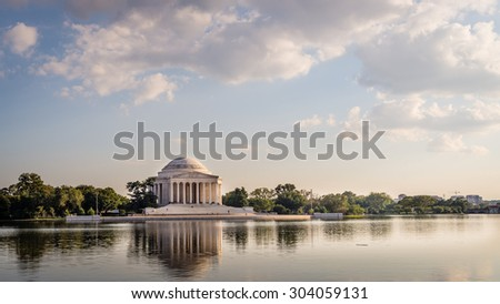 The Thomas Jefferson Memorial at the Tidal Basin, in Washington DC. Photograph shot on September 17, 2014