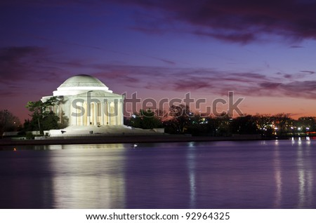 The Thomas Jefferson Memorial photographed across the Tidal Basin during and after sunset. The memorial, in Washington, DC, is dedicated to Thomas Jefferson, the third president of the United States.